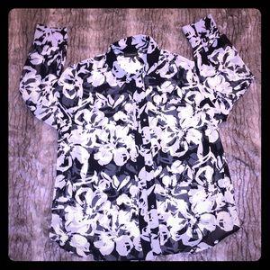 NWT Lane Bryant Black White Floral Blouse 18/20